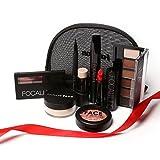 Maquillaje conjuntos para mujeres, cosméticos bolsa 8 in1 completo Kit de maquillaje, con barra de labios delineador de ojos líquido negro Volume Mascara de sombra de ojos Ceja polvo fluorescente stic
