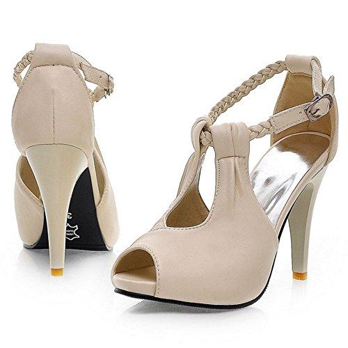 COOLCEPT Femmes Mode Cheville Sandales Peep Toe Talon Aiguille Chaussures Beige