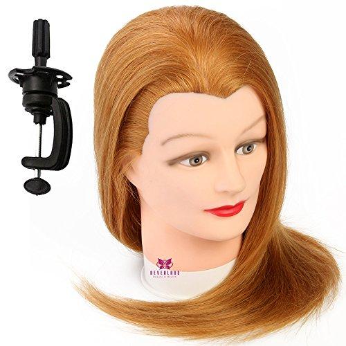 Neverland Professionnel Tête d'exercice 100 cheveux humains Tête à coiffer professionnelle Cosmétologie Mannequin Head 50cm Or