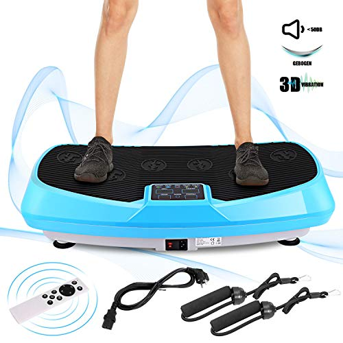 Oliote Vibrationsplatte 3D Vibrationstrainer Oszillierend Vibrationsgeräte Fitness mit Dual-Motoren, Curved Design, Color Touch Display, inkl. Trainingsbänder, Fernbedienung Blau