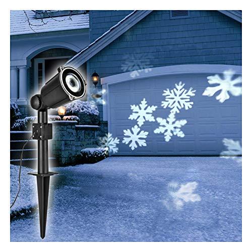 LED Strahler Schneeflocken für Innen und Aussen - Projektor Weihnachtsbeleuchtung Gartendeko Star Shower Weihnachtsdeko Außen