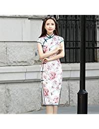 Shiduoli Vestito Floreale Orientale Asiatico Cinese Tradizionale Cheongsam  di Alta Fessura dei Vestiti dalla Manica Corta Stampa Qipao Dress… 9348367dc11