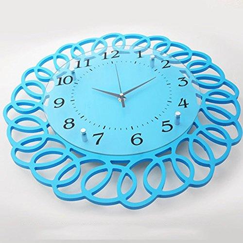 horloge murale CivilWeaEU- European Fashion Clock Living Room Décoration Modern Creative Horloge Circulaire Personnalité Mute Chambre Simple Lié À La Table (Couleur : Le Ciel Bleu)