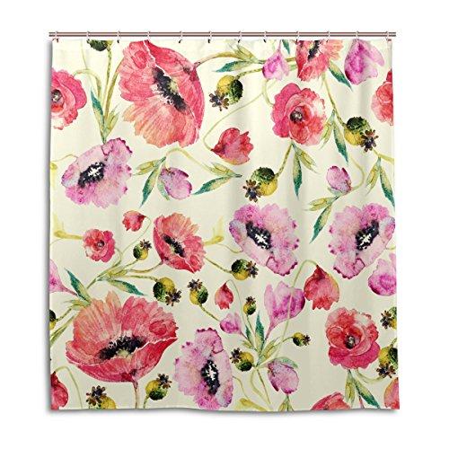 jstel Decor Dusche Vorhang Aquarell Mohn Blumen Print 100% Polyester Stoff 167,6x 182,9cm für Home Badezimmer Deko Dusche Bad Vorhänge mit Kunststoff Haken