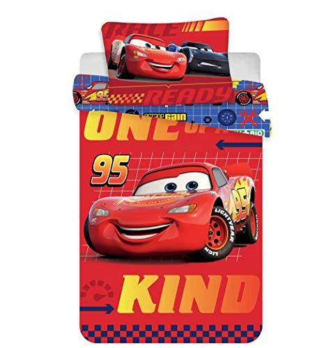 DISNEY CARS Parure de lit bébé 100% coton - Housse de couette 100x135 + Taie 40x60 cm