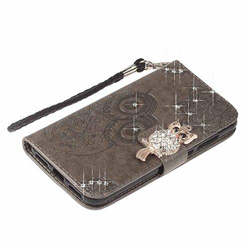 iPhone 6 / 6S Custodia, COOSTOREEU 3D Glitter Gufo e Mandala Embossing Premium PU Custodia in Pelle Card Slot Magnetica Portafoglio Flip per Apple iPhone 6 / 6S,Dorato Grigio