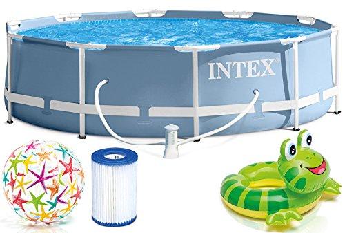 Intex 366x76 cm Prism Metal Frame Swimming Pool Schwimmbecken 28712 Komplett-Set mit Extra-Zubehör wie: Zwei Strandbälle