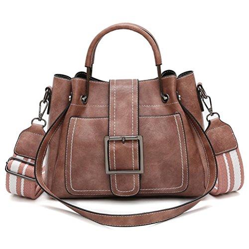 URSING Elegant Retro Vintage Tasche Damen Leder Schultertaschen Umhängetasche & Handtasche Damentaschen Shopper tasche Lederhandtaschen Damenhandtaschen Citytasche Messenger Bag (Rosa) -