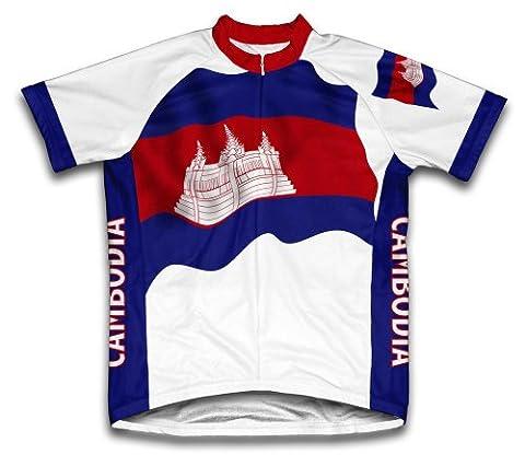 Cambodge Drapeau Maillot de cyclisme à manches courtes pour homme Large Blanc - blanc