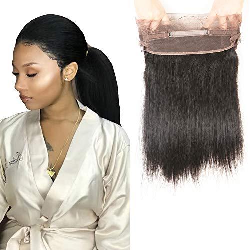 Parrucca di capelli veri e non trattati, con retina a 360 gradi, parrucca con capelli lisci, di colore nero, con chiusura frontale, personalizzabile