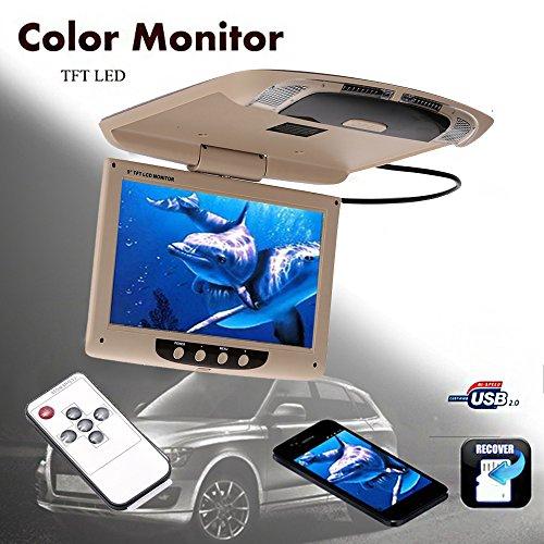 TOPmountain - Monitor de automóvil Exhibición de automóvil Portátil Universal Techo-Montaje de Techo Pantalla Invirtiendo Imagen Vehículos TFT-LCD