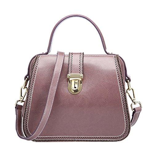 DISSA EQ0888 Damen Leder Handtaschen Satchel Tote Taschen Schultertaschen Violett