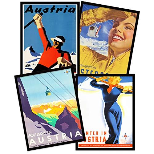 Wee Blue Coo Austria Skiing Travel Winter Sport Snow Alps Black Framed Wall Art Print Poster Home Decor Premium Pack of 4 Österreich Skifahren Reise Schnee Alpen Wand Zuhause Deko