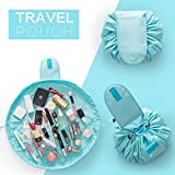 House of Quirk Cloth Travel Make-Up Storage Bag, Light Blue