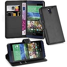 Cadorabo - Funda HTC DESIRE 610 Book Style de Cuero Sintético en Diseño Libro - Etui Case Cover Carcasa Caja Protección (con función de suporte y tarjetero) en NEGRO-FANTASMA
