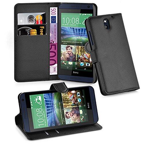 Cadorabo Hülle für HTC Desire 620 Hülle in Phantom schwarz Handyhülle mit Kartenfach und Standfunktion Case Cover Schutzhülle Etui Tasche Book Klapp Style Phantom-Schwarz