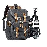 Camera Backpack Abonnyc Canvas SLR DSLR Camera bag Backpack Large Capacity Front Open