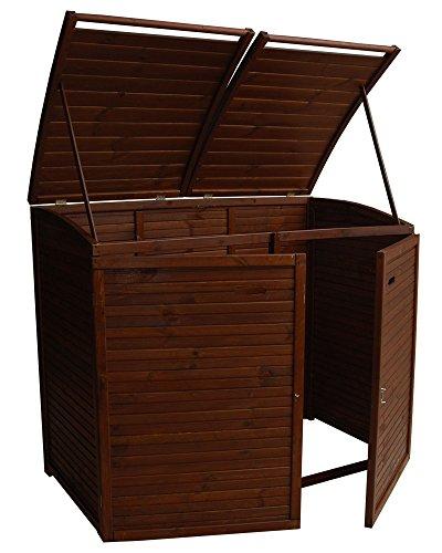 Andrewex Mülltonnenbox für 2Tonnen 156 x97 cm 240 Liter aus Holz Farbton:Braun Mülltonnenschrank Mülltonnenverkleidung - 2
