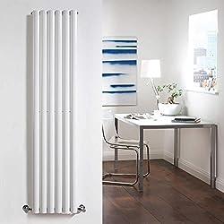 Hudson Reed Revive Radiador Calentador Mural Diseño Vertical En Acero Blanco - 6 Elementos - 1600mm x 354mm - 1651 Vatios - Calefacción Decorativa Central De Agua - Pack Fijación Incluido