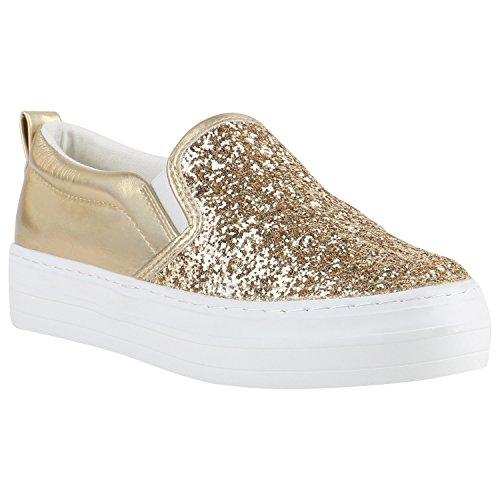 Damen Slip-ons Glitzer Plateau Slipper Metallic Trend Schuhe   Gr. 36-41 d75024dfa4