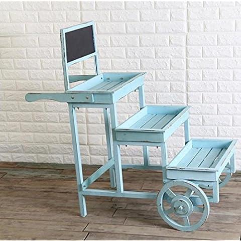 New day-Productos de decoración para el hogar jardín balcón de madera balcón plataforma, tres ruedas de carros y creativos 100 * 51 * 104CM , blue , 100*51*104cm