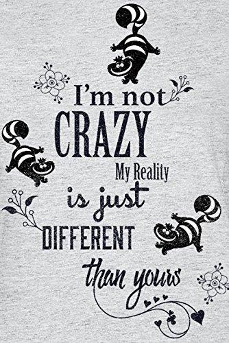 Alice in Wonderland Cheshire Cat - I'm Not Crazy Maglia Donna Grigio Sport grigio sport