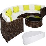 TecTake Hochwertige Aluminium Poly Rattan Lounge Sitzgruppe Sofa halbrund mit Tisch inkl. Schutzhülle und Kissen - Diverse Modelle - (Mixed Braun | Nr. 402035)