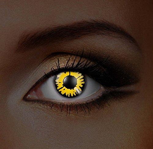 Funky Vision Kontaktlinsen I-Glow - 12 Monatslinsen, Twilight New Moon UV, Ohne Sehstärke, 1 Stück