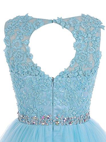 CoutureBridal® Robe Courte de Cocktail Bal Soirée en Gaze avec Bijoux Artificiels Rouge Vineux