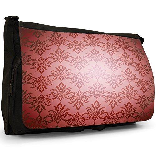 Elegante Carta da parati, colore: nero, Borsa Messenger-Borsa a tracolla in tela, borsa per Laptop, scuola Red Colour Pattern