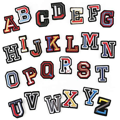 Kostüm Buchstaben Alphabet - Mokita Aufnäher Stickerei Abzeichen Aufbügler Sticker DIY Alphabet Buchstaben Zahlen Set Kit für Kleidung Nähen Stricken Kostüme Jeans Tasche T-Shirt Jeans Jacken Pack 26 Stück