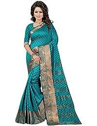 The Fashion Outlets Women's Cotton Silk Zari Jacquard Work Saree With Blouse Piece(Rama)