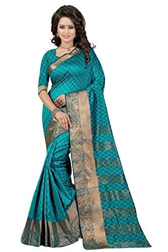 J B Fashion Women's Cotton Silk Saree With Blouse Piece(sarees for women-RAJ BAHUBALI SAREES) (rama)  available at amazon for Rs.899