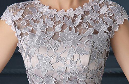 Eudolah gonna corte chiffon elegante con ricamo abiti da sera senza spalline vestito da cerimonia weedding party Grigio