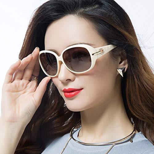 MJY Mode polarisierte Sonnenbrille weibliche Flut weiblicher runder Gesichts-Spiegel elegante große Kasten-Retro lange Gesichts-Glas-Persönlichkeit,Beige,
