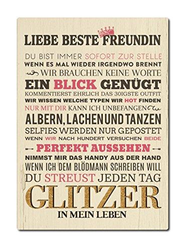 LUXECARDS Shabby POSTKARTE aus Holz LIEBE BESTE FREUNDIN Geschenk Frau Gruß