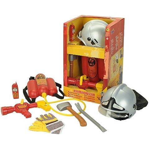 Klein - Disfraz de bombero con casco, manguera, hacha y ganzúa para niño