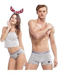 HÖTER® Baumwolle Niedliche Cartoon Paar Liebhaber Unterwäsche Mens Boxer Frauen Brief
