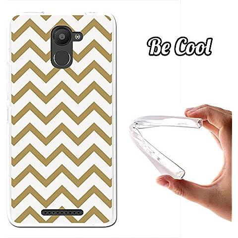 Becool® - Funda Gel Flexible para Bq Aquaris U Plus, Carcasa TPU fabricada con la mejor Silicona, protege y se adapta a la perfección a tu Smartphone y con nuestro exclusivo diseño. Rayas Doradas y