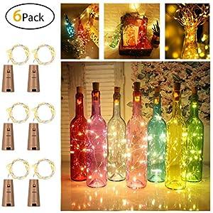 6 Stück LED Flaschenlicht, Sanniu 20 LEDs 2M Lichterkette Kupferdraht batteriebetriebene Weinflasche Lichter mit Kork Schnurlicht für DIY Deko Weihnachten Party Urlaub Stimmungslichter (Warmweiß)