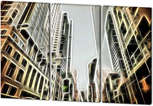 City, Light Effect, schönes und hochwertiges Leinwandbild zum Aufhängen in XXL - 3 Teiler mit 120cm x 80cm, echter Holzrahmen, effektiver Pigmentdruck, modernes Design für Ihr Büro oder Zimmer