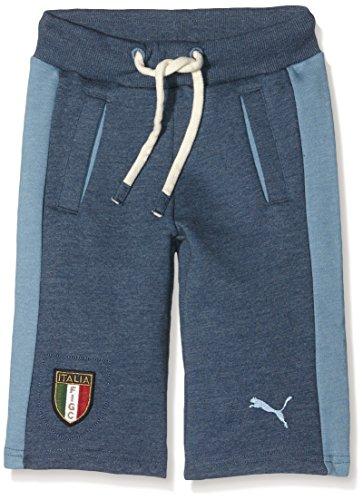 Puma Pantaloni da bambino FIGC Italia Azzurri Bermuda, Bambini, Hose FIGC Italia Azzurri Bermudas, Dark Denim-Blue Heaven, 140