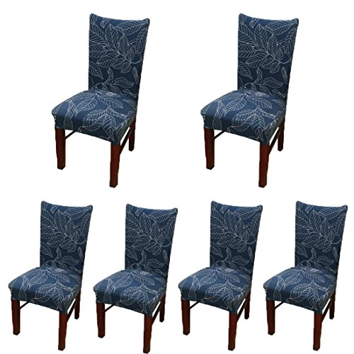 6 x Stretch Dining Room Chair Slipcovers with Printed Pattern, Banquet Chair Seat Protector Slipcover for Hone Party Hotel Wedding Ceremony (G)