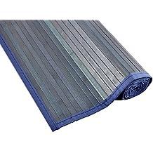 Tiendas Mi Casa - Alfombra de bambú KENIA (70x150 cm, Azul). Disponible en varios tamaños y colores.