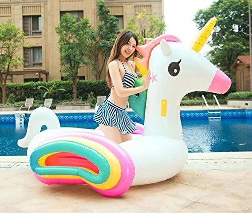 HuXwei 275cm Giant Unicorn Pool Float Rainbow Pegasus Ride On Inflatable Swimming Ring Adult Children Air Mattress Party Water Toy,Rainbow Unicorn -