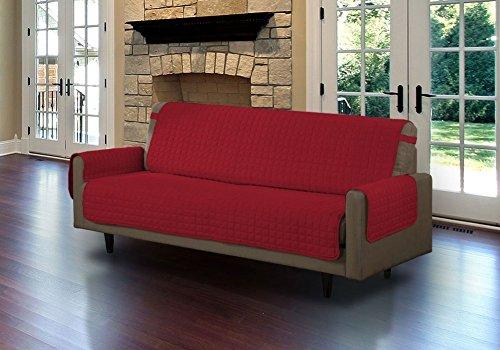 Divano letto protector per cane,coperture della mobilia protector poltrona loveseat impermeabile antimacchia fodera per divano copridivano reversibile-vino rosso 117x191cm(46x75inch)