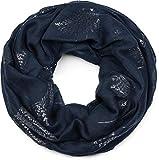 styleBREAKER Foulard tube pour femme avec un imprimé métallique feuilles et fougères, écharpe loop, tissu 01017083, couleur:Bleu foncé