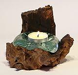 Geschenk Deko Gamal Wurzelholz Teelichthalter Wurzel Holz Teakholz Glas Teelicht