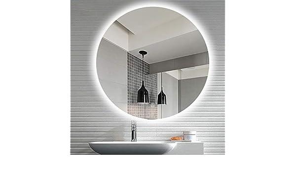 Specchio da Parete Tondo Retroilluminato,Interruttore del sensore touch//Anti-fog,Luce fredda//luce calda,Pu/ò essere usato per la rasatura e il trucco durevo KS Specchi per Luce LED da Bagno