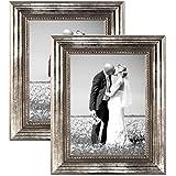 Juego de 2 marcos 20x30 cm plata barroca, antiguo, madera maciza con cristal y accesorios / marco de fotos / marco barroco